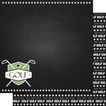 Scrapbook Customs - Sports Collection - 12 x 12 Double Sided Paper - Chalkboard Sports - Golf