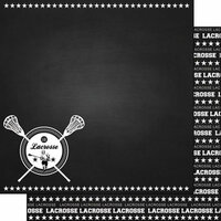 Scrapbook Customs - Sports Collection - 12 x 12 Double Sided Paper - Chalkboard Sports - Lacrosse