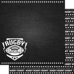Scrapbook Customs - Sports Collection - 12 x 12 Double Sided Paper - Chalkboard Sports - Rugby