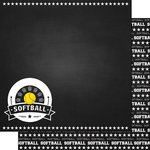 Scrapbook Customs - Sports Collection - 12 x 12 Double Sided Paper - Chalkboard Sports - Softball