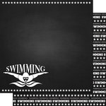 Scrapbook Customs - Sports Collection - 12 x 12 Double Sided Paper - Chalkboard Sports - Swimming