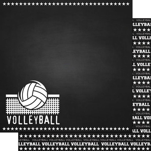 Scrapbook Customs - Sports Collection - 12 x 12 Double Sided Paper - Chalkboard Sports - Volleyball