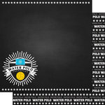 Scrapbook Customs - Sports Collection - 12 x 12 Double Sided Paper - Chalkboard Sports - Water Polo