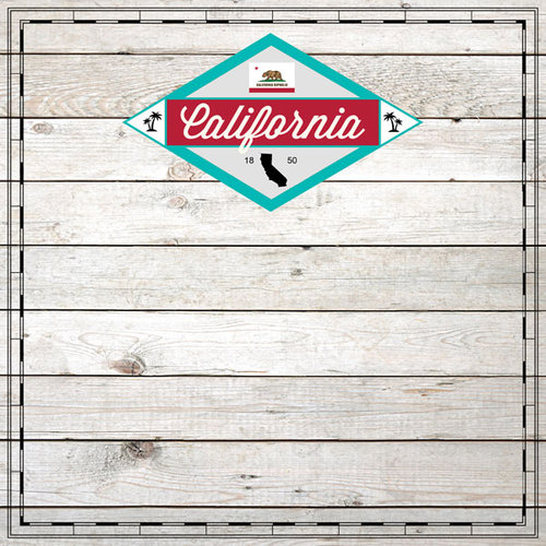 Scrapbook Customs - State Sightseeing Collection - 12 x 12 Paper - Wood - California