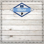 Scrapbook Customs - State Sightseeing Collection - 12 x 12 Paper - Wood - Maine