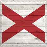 Scrapbook Customs - State Sightseeing Collection - 12 x 12 Paper - Wood Flag - Alabama