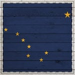 Scrapbook Customs - State Sightseeing Collection - 12 x 12 Paper - Wood Flag - Alaska