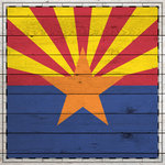 Scrapbook Customs - State Sightseeing Collection - 12 x 12 Paper - Wood Flag - Arizona