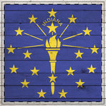 Scrapbook Customs - State Sightseeing Collection - 12 x 12 Paper - Wood Flag - Indiana