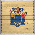 Scrapbook Customs - State Sightseeing Collection - 12 x 12 Paper - Wood Flag - New Jersey