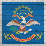Scrapbook Customs - State Sightseeing Collection - 12 x 12 Paper - Wood Flag - North Dakota