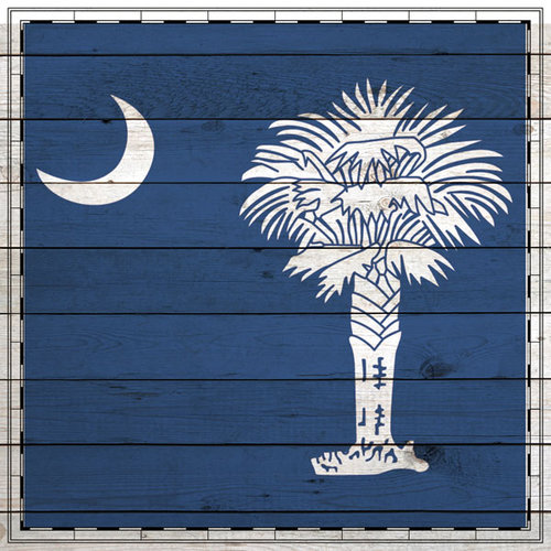 Scrapbook Customs - State Sightseeing Collection - 12 x 12 Paper - Wood Flag - South Carolina
