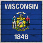 Scrapbook Customs - State Sightseeing Collection - 12 x 12 Paper - Wood Flag - Wisconsin
