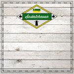 Scrapbook Customs - Canadian Provinces Sightseeing Collection - 12 x 12 Paper - Wood - Saskatchewan