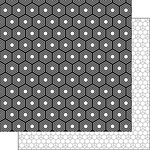 Scrapbook Customs - Black and White Shapes Collection - 12 x 12 Double Sided Paper - Hexagon 1
