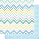 Scrapbook Customs - Baby Boy Collection - 12 x 12 Double Sided Paper - Chevron