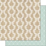 Scrapbook Customs - Burlap and Lace Collection - 12 x 12 Double Sided Paper - Stripes