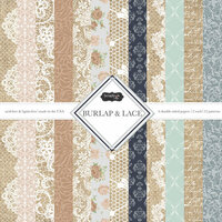Scrapbook Customs - Burlap and Lace Collection - 12 x 12 Paper Pack