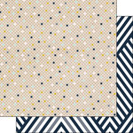 Scrapbook Customs - Navy Mustard Collection - 12 x 12 Double Sided Paper - Grid