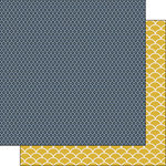 Scrapbook Customs - Navy Mustard Collection - 12 x 12 Double Sided Paper - Pattern
