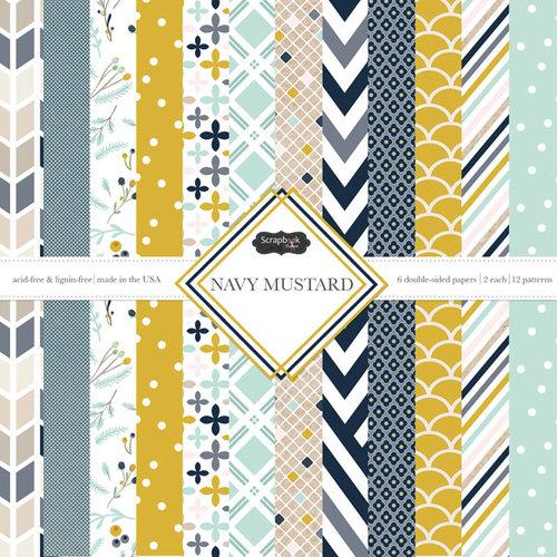 Scrapbook Customs - Navy Mustard Collection - 12 x 12 Paper Pack