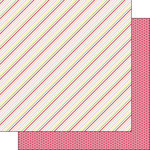 Scrapbook Customs - Valentine Collection - 12 x 12 Double Sided Paper - Side Stripe