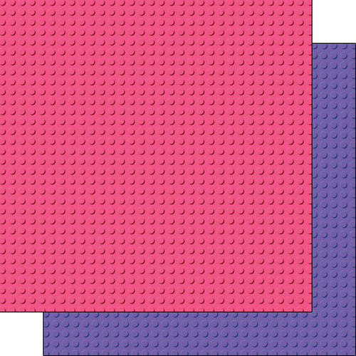 Scrapbook Customs - 12 x 12 Double Sided Paper - Building Blocks Base - Pink and Purple