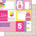 Scrapbook Customs - Birthday Girl Collection - 12 x 12 Double Sided Paper - 5th - Journal