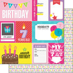 Scrapbook Customs - Birthday Girl Collection - 12 x 12 Double Sided Paper - 7th - Journal