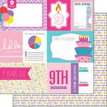 Scrapbook Customs - Birthday Girl Collection - 12 x 12 Double Sided Paper - 9th - Journal