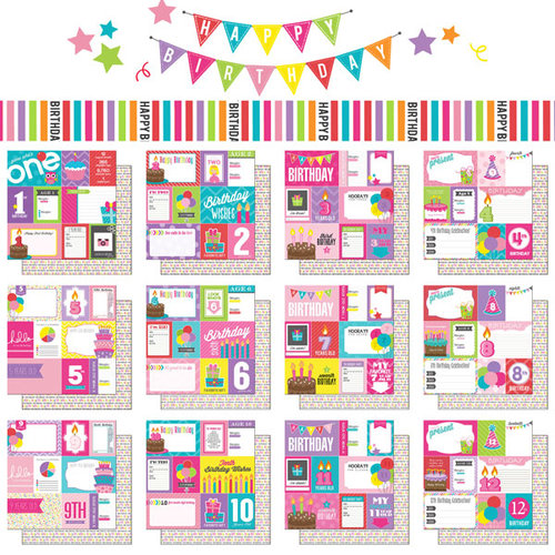 Scrapbook Customs - Birthday Girl Collection - 12 x 12 Paper Pack - 1st-12th - Journal