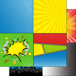 Scrapbook Customs - 12 x 12 Double Sided Paper - Comic Boy Squares