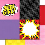 Scrapbook Customs - 12 x 12 Double Sided Paper - Comic Girl Squares