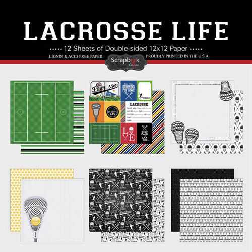 Scrapbook Customs - Lacrosse Life Collection - 12 x 12 Paper Set
