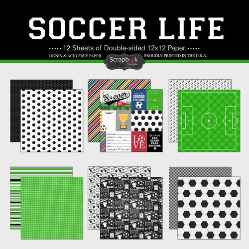 Scrapbook Customs - Soccer Life Collection - 12 x 12 Paper Set
