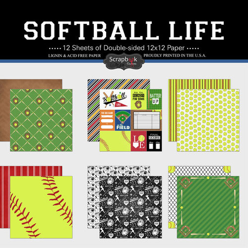 Scrapbook Customs - Softball Life Collection - 12 x 12 Paper Set
