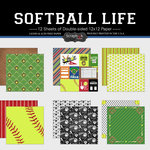 Scrapbook Customs - Softball Life Collection - 12 x 12 Paper Set