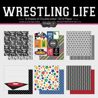 Scrapbook Customs - Wrestling Life Collection - 12 x 12 Paper Set
