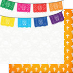 Scrapbook Customs - Day of the Dead Collection - 12 x 12 Double Sided Paper - Skull Banner