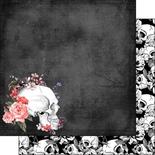 Scrapbook Customs - Day of the Dead Collection - 12 x 12 Double Sided Paper - Pink Rose Skull