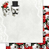 Scrapbook Customs - Day of the Dead Collection - 12 x 12 Double Sided Paper - Red Rose Skull