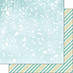 Scrapbook Customs - 12 x 12 Double Sided Paper - Snowflakes and Stripes