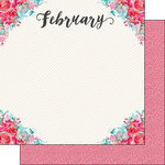 Scrapbook Customs - Valentines Collection - 12 x 12 Double Sided Paper - February Memories