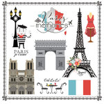 Scrapbook Customs - Travel Adventure Collection - 12 x 12 Paper - Paris Memories Cut Out