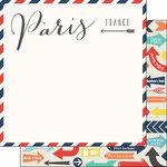 Scrapbook Customs - Travel Adventure Collection - 12 x 12 Double Sided Paper - Paris Memories Air Mail Arrows