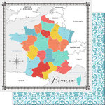 Scrapbook Customs - Travel Adventure Collection - 12 x 12 Double Sided Paper - France Memories Map