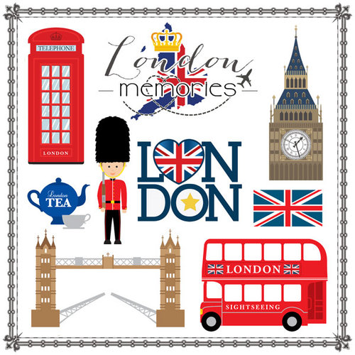 Scrapbook Customs Travel Adventure London Memories Cut Out Paper