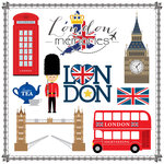 Scrapbook Customs - Travel Adventure Collection - 12 x 12 Paper - London Memories Cut Out