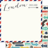 Scrapbook Customs - Travel Adventure Collection - 12 x 12 Double Sided Paper - London Memories Air Mail Arrows