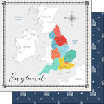 Scrapbook Customs - Travel Adventure Collection - 12 x 12 Double Sided Paper - England Memories Map
